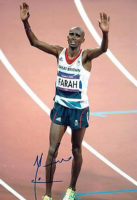 Mo FARAH Autograph 12x8 Signed Photo 1 AFTAL COA Olympic Gold Medal Winner
