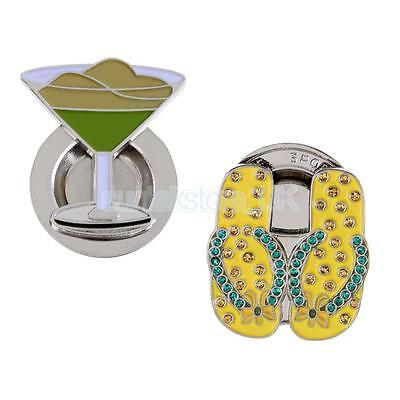 New 2pcs Lightweight Alloy Magnetic Hat Clip and Golf Ball Markers