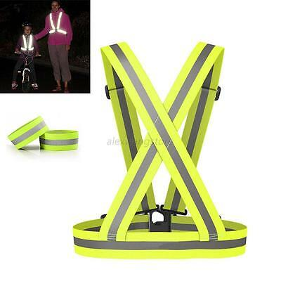 Outdoor High Visibility Safety Straps Adjustable Reflective Bracelet+Waistcoat