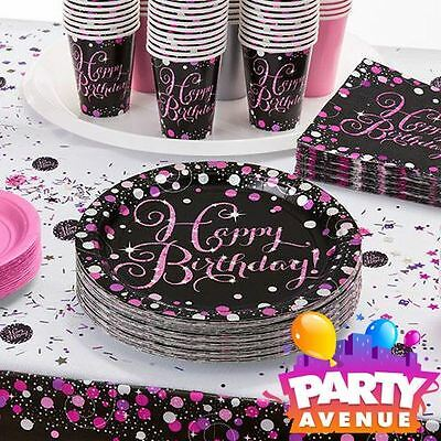 Pink Celebration Adult Age Birthday Party Tableware, Decorations, Balloons