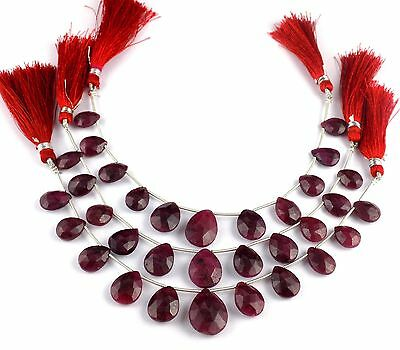 "1 Strand Ruby Corundum Gemstone Pear Shape 9x12-14x19mm Briolette Beads 7"" Long"