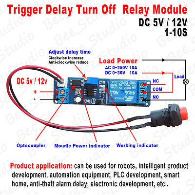 DC 5V 12V Adjustable Timer Delay Turn OFF/ON Switch Relay Time Module 1~10s PLC