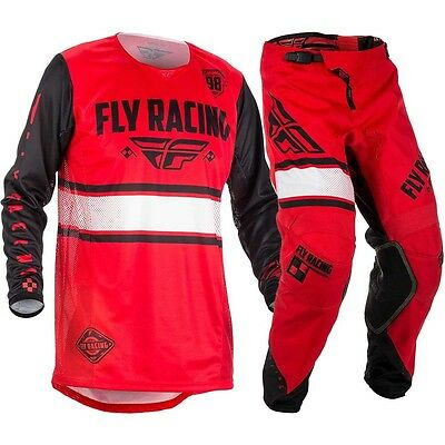 New Fly Racing Mx Adult Mens Kinetic Era Red Black Jersey + Pants Combo