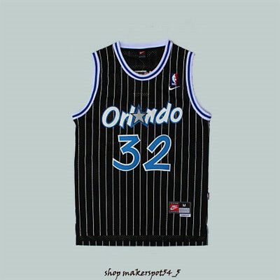 #32 Jersey Stripes Shaq Magic Shaquille O'neal Orlando Collection Jersey Black