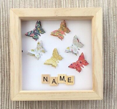 🦋Personalised 3D Floral Butterfly Art Wooden Scrabble Box Nursery Room Frame 🦋