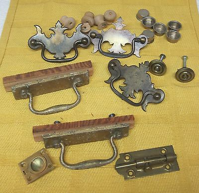 Mixed Lot 20 Pc Hardware Drawer Cupboard Handles Pulls Bolt Finger Holds + DE1