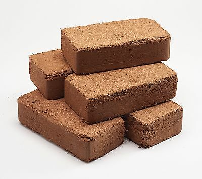 5 X 10 Litre Organic Coco Peat Free Coir Bricks - Makes Up To 50 Litres