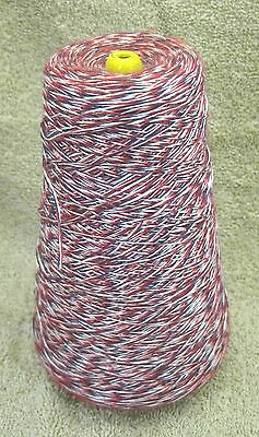 Vintage Large Cone Red White & Blue Silky Thread Sewing Tatting Craft Spool SHP
