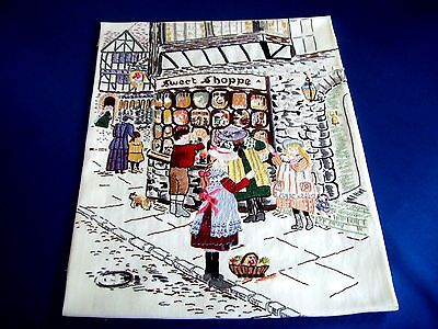 Vintage Hand Embroidered Picture Panel English Victorian Sweet Shop Great Work