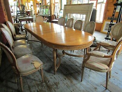19TH c FRENCH PROVINCIAL DINING SET 9 FT TABLE W 11 CHAIRS