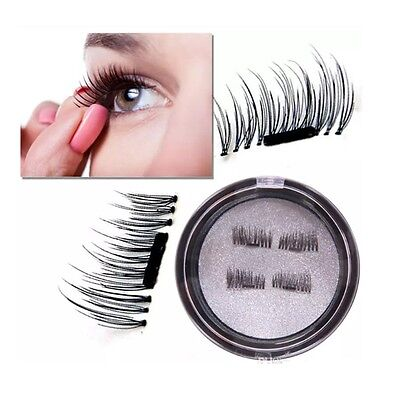 UK 2Pairs Magnetic Eyelashes Handmade Reusable False Magnet Eye Lashes Extension