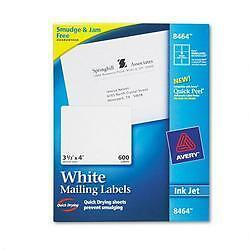 "Avery Shipping Labels with TrueBlock Technology for Inkjet Printers 3-1/3"" x 4"","