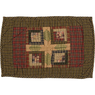 New Primitive Country Green Red TEA CABIN QUILTED PATCHWORK STAR Table Place Mat