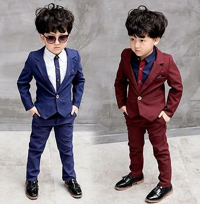 3Pcs Kids Baby Boys Suits Party Prom Suits Jacket Page boy Wedding Formal Suits