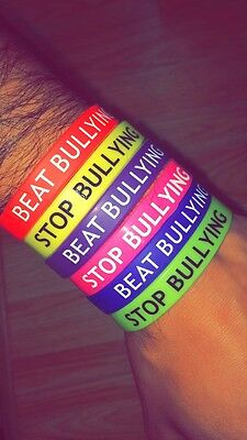 Stop Beat Bullying Awareness Alert Silicone Wristband Adult Bracelet Charity