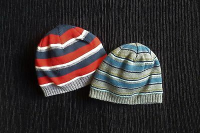 Baby clothes BOY 0-3m x2 soft acrylic, fleece-lined grey,blue,red striped hats