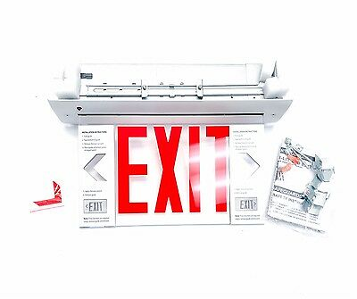 Lithonia EDGR W 1 R M4 Lighting Recessed Edgelit LED Exit Sign (Red on Clear)