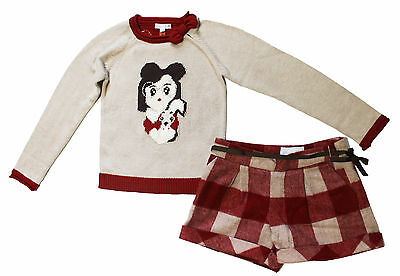 NWT Mayoral Girls' Knit Sweater and Plaid Wool Shorts Set ~ Size 4 6