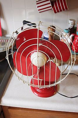 RARE Vintage Dominion Oscillating 50's Electric Fan Red White Very Nice Works