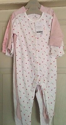 Set Of 4 Girls Next Sleepsuits 3-6 Months Bnwt