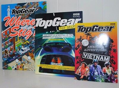 3 Top Gear Books. Awesome Adventures Vietnam/top Drives/where's Stig