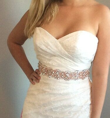 Rose Gold Bridal Sash. Rose Gold belt. 26 inches beading beaded around