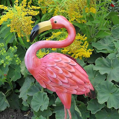 Pink Flamingo Metal Indoor Outdoor Pond Garden Ornament Sculpture Decoration
