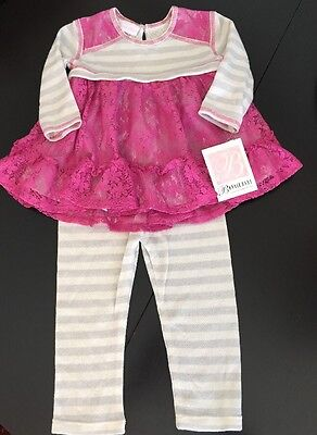 Bonnie Jean Baby 2 piece Outfit Gray and Pink tunic top w/leggings 24 month NWT