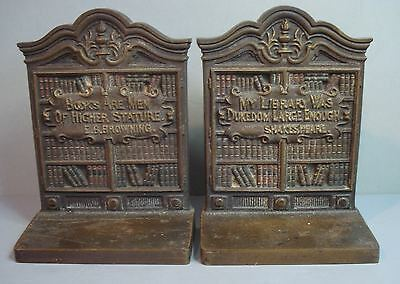 Vintage ~ Bradley & Hubbard Cast Iron ~ Bookends ~ Shakespeare / Browning