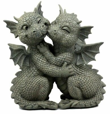 """Fiery Romance Hatchling Dragon Lovers Garden Statue Faux Stone Resin Finish 10""""H"""