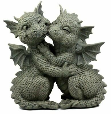 "Hugging Baby Dragon Lovers Garden Statue Resin in Stone Finish 10""H Sculpture"