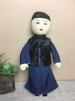 "Ada Lum Chinese Cloth Doll 12""  c.1950s - Handmade - Hon Kong - Collectible*"