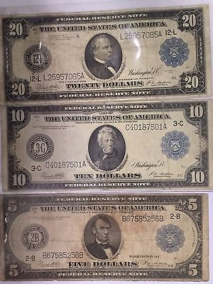 Lot Of 3 Rare Large Currency Notes:all 1914: $5,$10,$20 Frn Blue Seal Note#!50