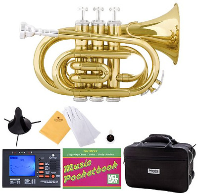 Mendini B-Flat Pocket Trumpet, Gold Lacquered and Tuner, Case, Stand, Pocketbook