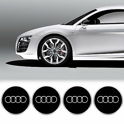 4 x 55mm Diameter AUDI Wheel Center Cap Sticker Emblem Self Adhesive