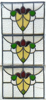 "Lot of 3 1920's Antique English Stained Leaded Glass Transom Window 20"" x 15"""