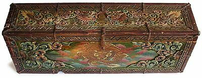 19th Century Tibetan Carved Polychrome Elmwood Sutra Box Scroll Chest furniture