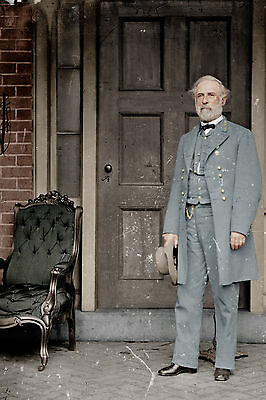 Large Confederate Gen Robert E Lee US Civil War Photo Painting Canvas Art Print