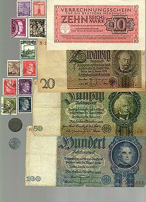 Nazi Banknote, Coin And Stamp Set  # 5