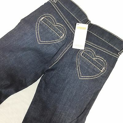 Gymboree 7 Skinny Jeans New Girls Dark Blue Adjustable Waist Heart Pocket Denim