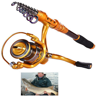 Telescopic Saltwater Fishing Rod and Reel Combos Spinning Fishing Reel Kit Sets