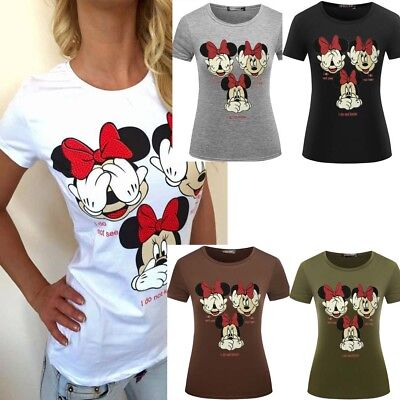 Fashion Women Sexy Funny Mickey Minnie Mouse Not See Hear Know T-shirt Tops Tee