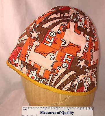 vtg Beanie Cap orange brown mod 1960 Zodiac Leo Cloche Hat Child reversible  y3