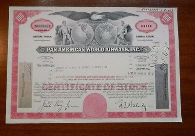 Pan American Airlines 1971 stock certificate aviation collectible Joseph Cioffi
