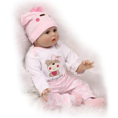 """Reborn Baby Doll Soft Silicone Vinyl 22"""" Magnetic Mouth Lifelike Boy Girl Toy"""