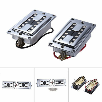 Quality Chrome Filtertron Style Humbucker Guitar Pickup Set with Mounting Rings