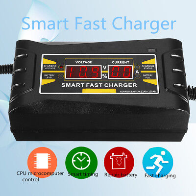 12V 6A Smart Intelligent Fast Battery Charger w/LCD Display For Car Motorcycle