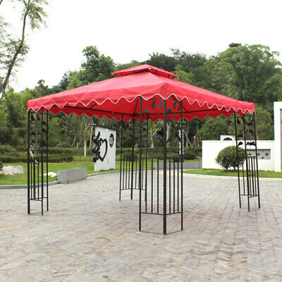 2 Tier Replacement Canopy Top Patio Pavilion Gazebo Sunshade Polyester Cover 10'