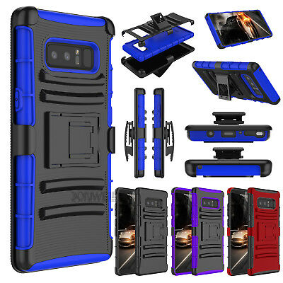 Hybrid Rugged Holster Belt Clip Hard Armor Cover Case For Samsung Galaxy Note 8