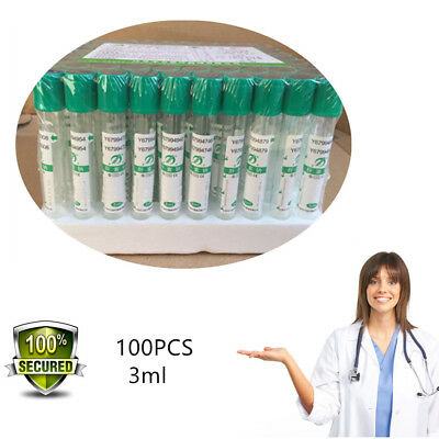 100pcs 3mL Sterile Vacutainer Heparin Sodium Tubes Blood Collection Tube 13*75mm